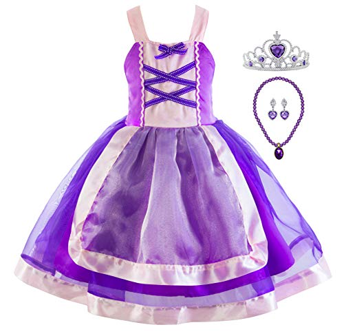 Princess Cinderella Rapunzel Little Mermaid Dress Costume for Baby Toddler Girl (2T, Rapunzel A)]()