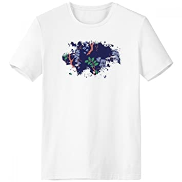 DIYthinker Púrpura Cultura Japonesa Hoja Pincel Escote de la Camiseta Blanca sin Etiquetas Comfort Deportes Camisetas