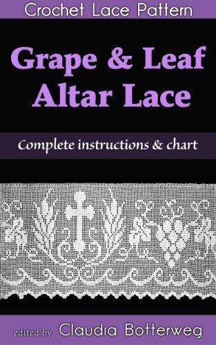 Filet Crochet Pattern - Grape & Leaf Altar Lace Filet Crochet Pattern