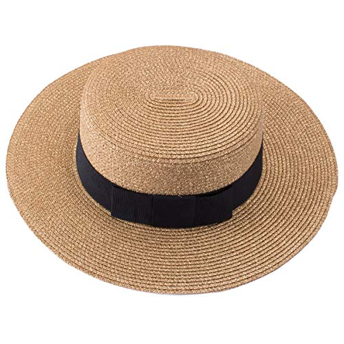 Lawliet Retro Womens Flat Top Panama Boater Dress Straw Beach Sun Hat T241 - Straw Retro Hat