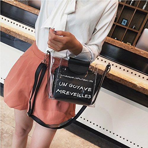 de de Moda Bolsa alas Bolsa de A Verano Pink Mensajero Nueva de Coreana Carta Black Hombro Handbag Portátiles de Paquete de la Color 5wOTFvF