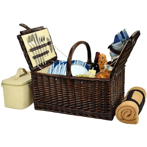 (Picnic at Ascot Buckingham Willow Picnic Basket with Service for 4 with Blanket- Blue Stripe)