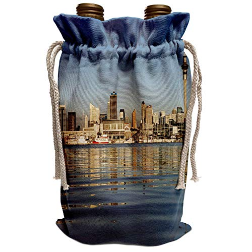 3dRose Danita Delimont - City Skylines - City skyline, Auckland CBD, North Island, New Zealand-AU02 DWA3797 - David Wall - Wine Bag (wbg_71158_1) (Auckland Cbd Auckland)