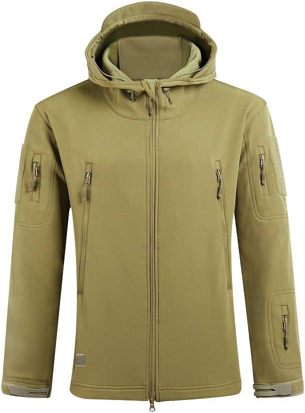 SAENSHING Uomo Caccia Softshell Giacche Abbigliamento tattico Militare Caldo Camouflage Impermeabile Fodera Cappotto