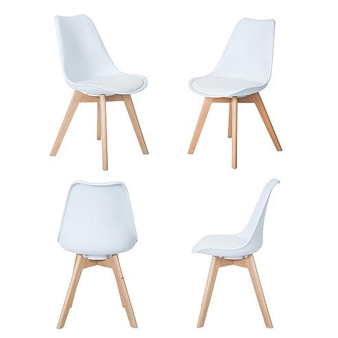 4Er Set Esszimmerstühle Mit Massivholz Buche Bein, Retro Design