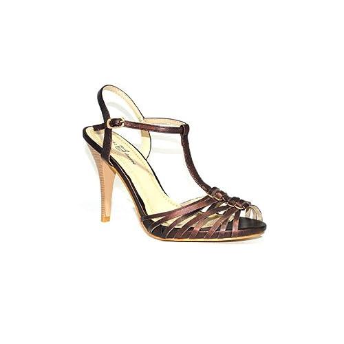 Fiesta Elegante Confort Niko Tacón Marrón Salón Mujer Alto Amore Cómodos 1078 Beige Zapatos Color Sandalia 54A3jqRL