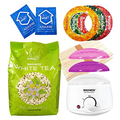 Wax Necessities Waxness White Tea Cream Stripless Waxing Kit with 2.2 Pound Wax Bag