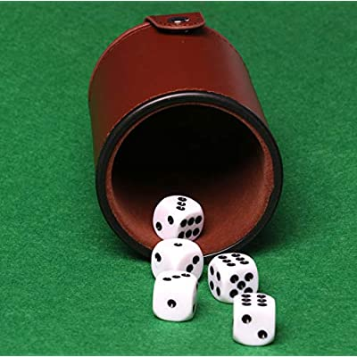 RERIVER 2 Pack PU Leather Dice Cup Set with Storage Compartment Felt Lining Shaker with 5 Dot Dices for Farkle Yahtzee Games Playing Birthday Gift,Brown: Toys & Games