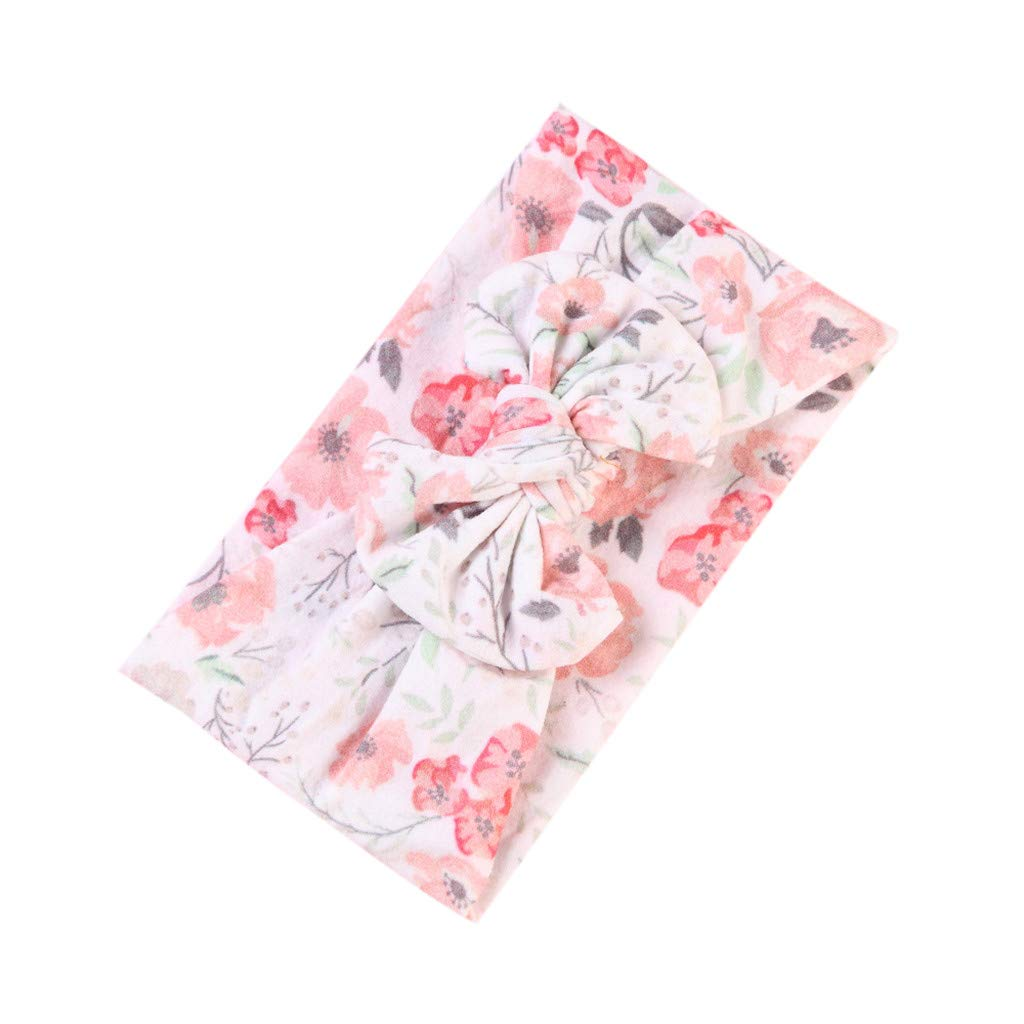 NUWFOR Baby Girls Printed Hairband Bow Soft Knot Elastic Headband Head Wrap(A,Free Size)