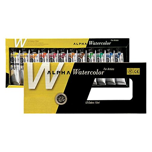 Premium Watercolour Paint Alpha Gold label Set 12 Colours 15ml 0.50oz (Gold 1/2 Oz Tube)