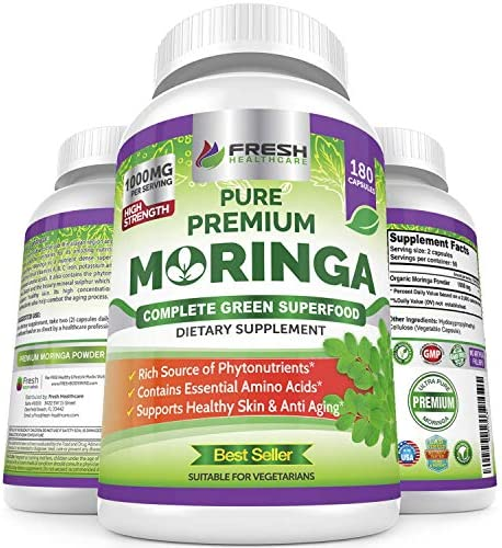 Moringa Oleifera 180 Capsules 100 Pure Leaf Powder – Max 1000mg Per Serving – Complete Green Superfood Supplement – Full 3 Month Supply – Pure Miracle Tree Moringa Super Greens Powder Vegan Caps