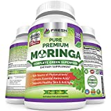 Moringa Oleifera 180 Capsules - 100% Pure Leaf Powder - Max 1000mg Per Serving - Complete Green Superfood Supplement - Full 3 Month Supply - Pure Miracle Tree Moringa Super Greens Powder Vegan Caps