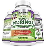 Organic Moringa 180 Capsules - 100% Pure Leaf Powder - Max 1000mg Per Serving - Complete Green Superfood Supplement - Full 3 Month Supply - Miracle Tree Organic Moringa Oleifera Powder Vegan Caps
