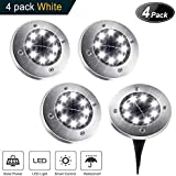 Solar Ground Lights,8 LED Disk Lights Solar Powered Waterproof Garden Pathway Outdoor in-Ground Lights with Light Sensor,White (4 Pack)