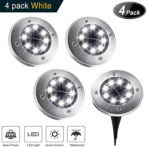 Solar Ground Lights,8 LED Disk Lights Solar PoweredWaterproof Garden Pathway Outdoor in-Ground Lights with Light Sensor,White (4 Pack) by GYM HEROES