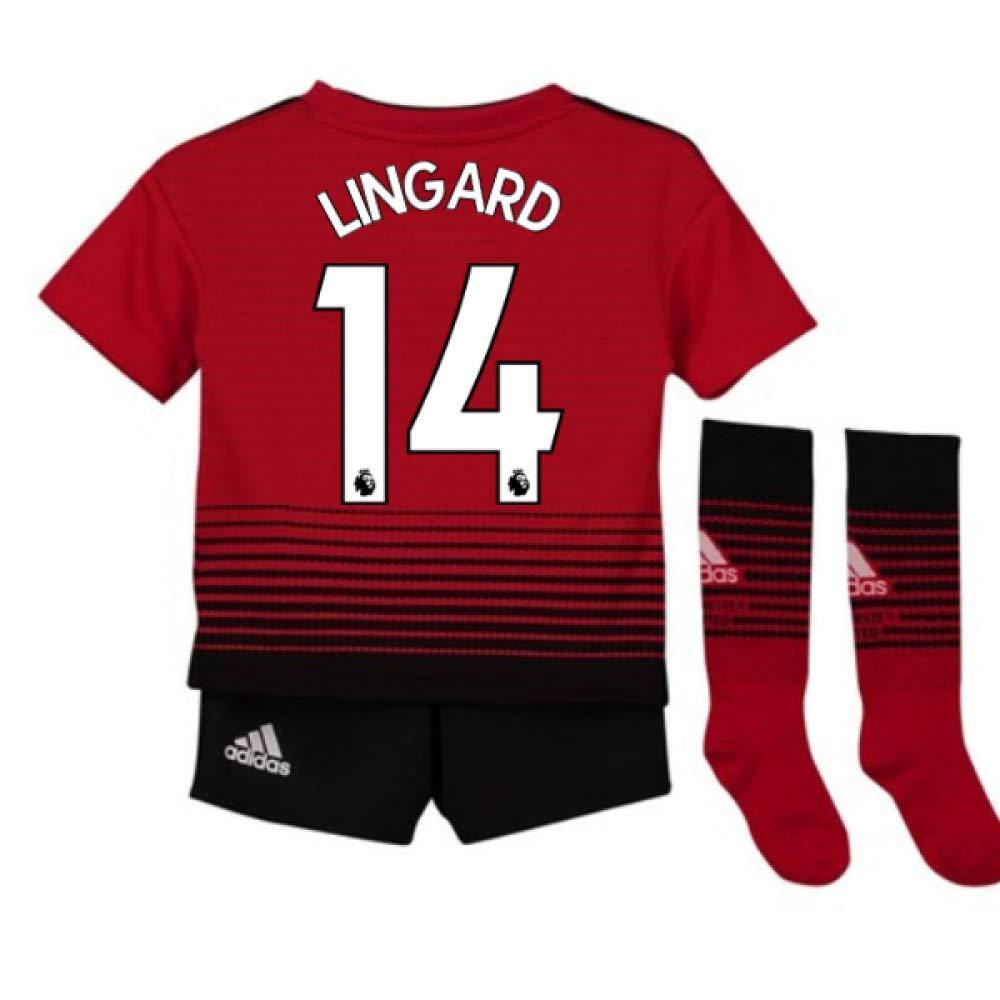 UKSoccershop 2018-2019 Man Utd Adidas Home Little Boys Mini Kit (Jesse Lingard 14)