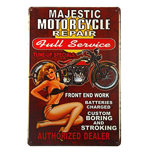 Repair Service Tin Sign (DL-The Full Service Motorcycle repair sign with Pin Up Girl is a great garage or man cave sign)
