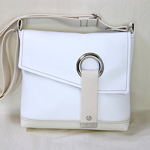 Stella Crossbody Messenger Bag, Faux Leather Messenger in Snow White by Zaum