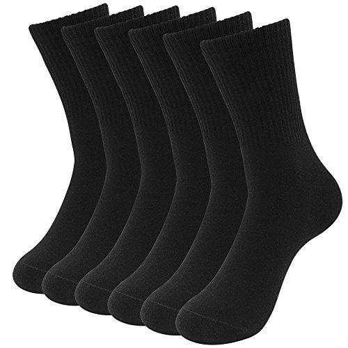 Classic Socks (Hippih Men's 6 Pairs Cotton Classic Socks Black Business Dress Flat Knit Crew Socks)