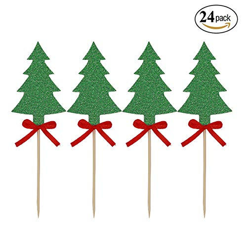 24 Pack Christmas Tree Cupcake Toppers Green Glitter Cake Toppers Food Picks Decoration for Xmas New Year Baby Shower Kid's Birthday Party Favors by Ucity (Green Glitter)