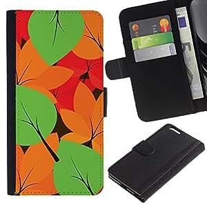 KingStore / Leather Etui en cuir / Apple Iphone 6 PLUS 5.5 / Autumn Leaves Couleurs Motif
