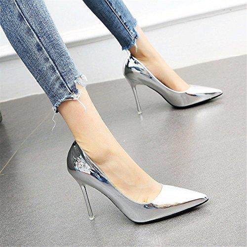 YMFIE La Sra. De Boca Baja Moda Sexy Temperamento Stiletto señaló Oro Plata Zapatos de tacón Alto Solo Zapatos de Boda Silver