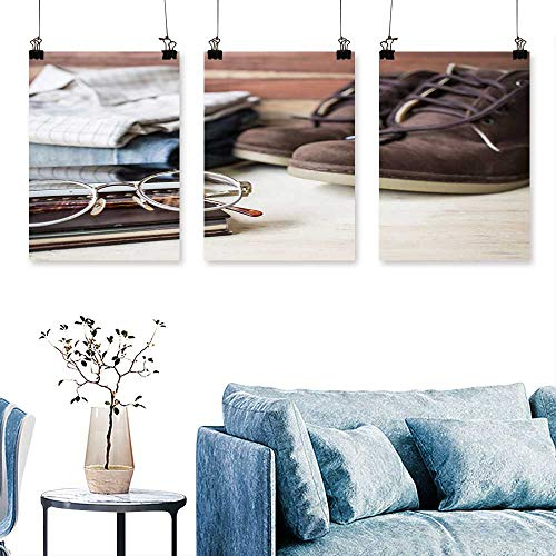 (SCOCICI1588 3 Panels Triptych Still Life Men s Outfit on Wooden Table Artwork for Wall Decor Triptych 16 INCH X 30 INCH X)