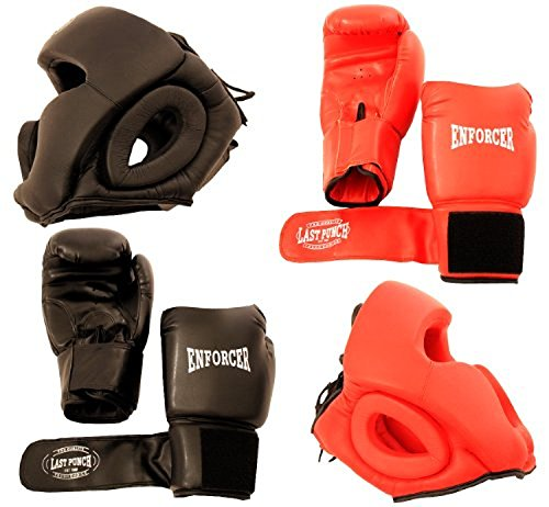 Headgear Boxing Gloves (Set 2 Pairs Professional Boxing Gloves 16oz Sparring - 2 Headgears - [S103])