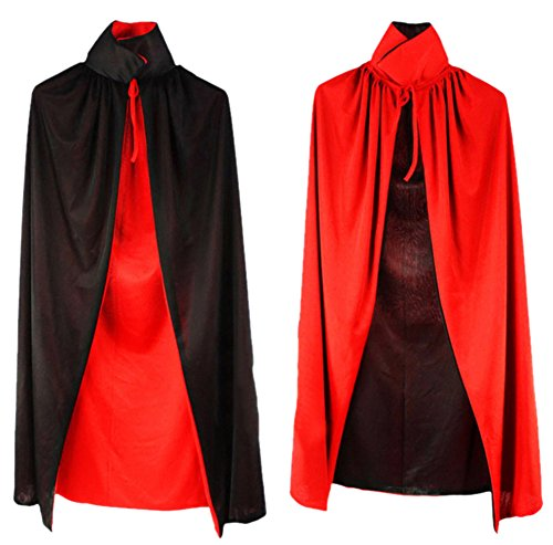 [Sept.Filles Cloaks Full Length Double Layer Red and Black Adult Kids Style (S, Red and Black)] (Adult Purple Wizard Costumes)