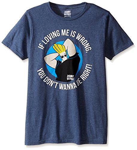 T-Line Men's Johnny Bravo Loving Me Graphic T-Shirt, Navy Heather, Medium (The Best Little Johnny Jokes)