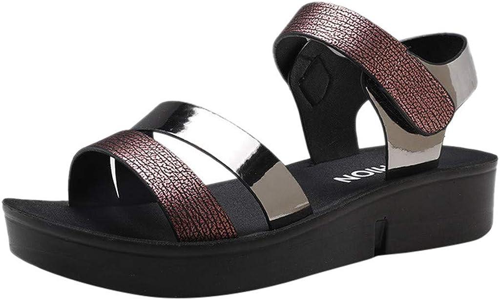 Geilisungren Sandalias de Mujer Verano Sandalias de Punta Abierta Zapatillas Casual Playa Romanas Zapatos con Cordones Zapatos Altos Gladiador Tacon Planas Bohemia Zapatos Planos Flip Flop