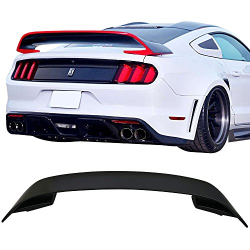 Trunk Spoiler Fits 2015-2019 Ford Mustang | GT350 V2 Style Unpainted ABS Rear Spoiler Wing by IKON MOTORSPORTS | 2016 2017 ()