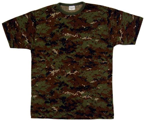 Adults Camo Army Cargo Combat Military T-shirt crew neck (M, Digital Woodland)