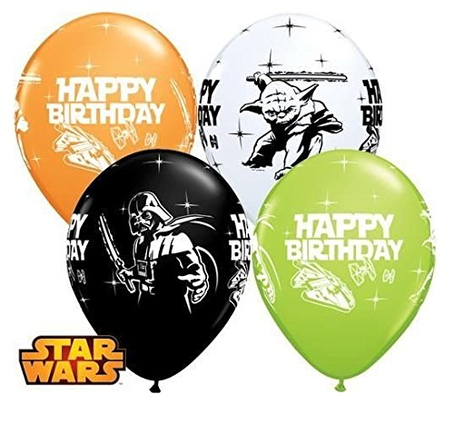 6 Piece Star Wars Darth Vader Yoda Happy Birthday Black White Orange and Lime Green 28cm Qualatex Latex Balloons x 10   B01N9OQ0ZE