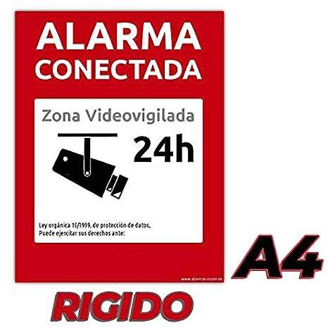 2 Carteles Alarma conectada disuasorio Zona vigilada 24h Color Rojo 24 Horas videovigilada disuasorios… (PVC-Rígido, A5)
