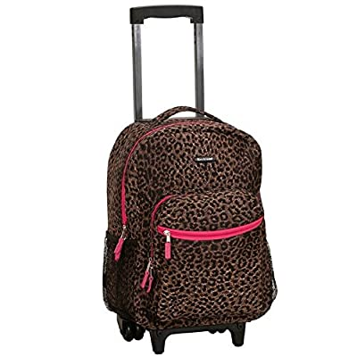 outlet Girls Pink Trim Leopard Print Backpack Animal Cheetah Dots Themed Carry On