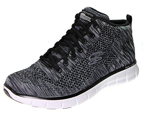 Skechers Sport Women's Burst Divergent Demi Boot Sneaker Black Knit/White