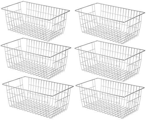 Wire Baskets Metal Freezer Bins – Farmhouse Organizer Storage Bins Large Organizer Bins for Storage, Office, Bathroom…