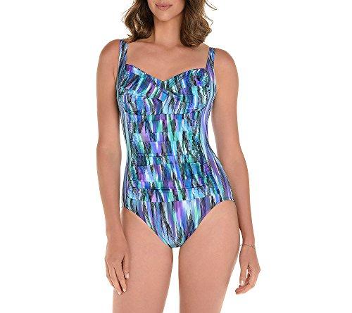 Trimshaper Womens Swimsuit - Trimshaper Waterfall Pattern Sweetheart Neckline One Piece 14