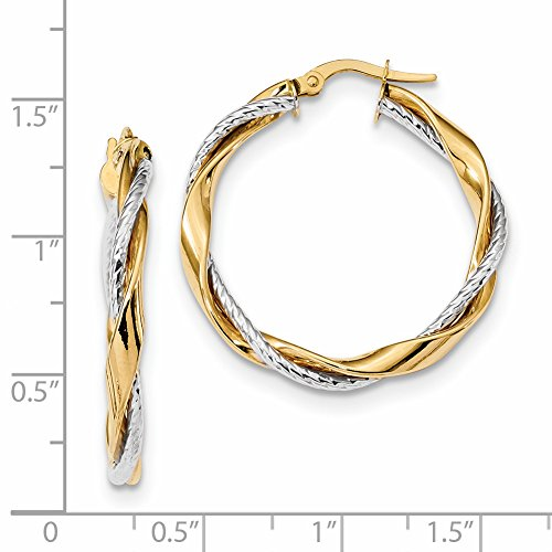 ICE CARATS 14k Two Tone Yellow Gold Rope Twisted Hoop Earrings Ear Hoops Set Fine Jewelry Gift Set For Women Heart by ICE CARATS (Image #3)