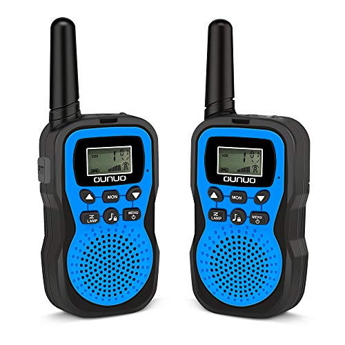 OUNUO Kids Walkie Talkie Toys, 22 Channels & 10 Enjoyable Ringtones Available, 4 Miles Range[Open Space] Walkie Talkies with Flashlight and LCD Screen, Excellent Two Way Radio Toys for Kids (Blue)