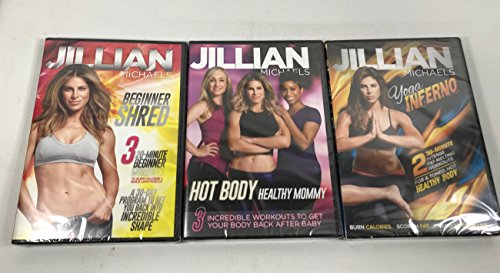 3 Pack Jillian Michaels Fitness DVD. Yoga Inferno, Beginner Shred, Hot Body Healthy Mommy