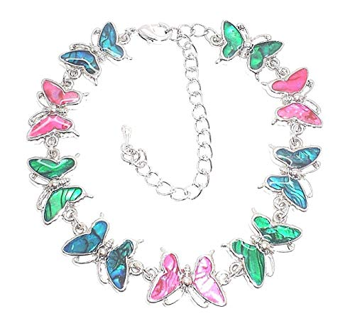 Genuine Paua Shell Butterfly Anklet – Multi Colored