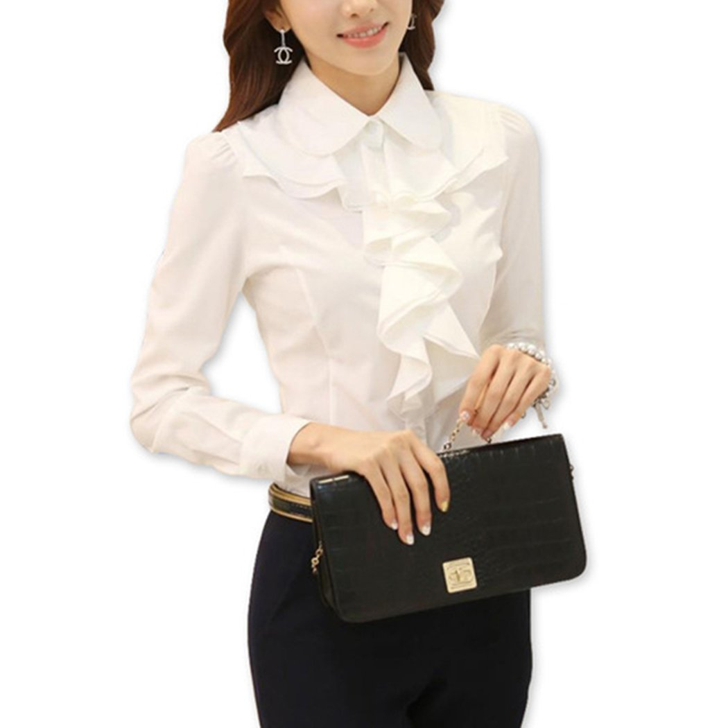 FUNOC Ruffle Blouse Women Elegant Long Sleeve Office Work Shirt White