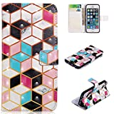 for iPhone 5/5S/SE Wallet Case and Screen Protector,QFFUN Glitter 3D Pattern Design [Cube] Magnetic Stand Leather Phone Case with Card Holder Drop Protection Etui Bumper Flip Cover