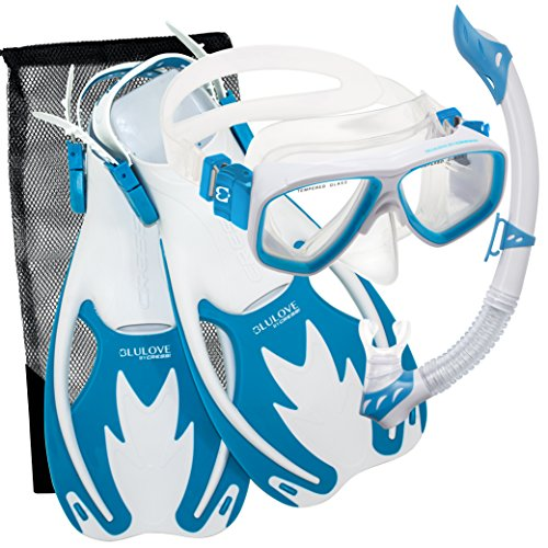 Cressi Junior Rocks Mask Fin Snorkel Set (White Blue, Large/X-Large)