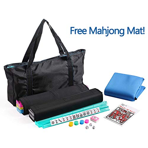 American Mahjong Set with a Table Cover ~ Mahjong Set with Waterproof Black Nylon wtih Blue Stitches Bag and 4 Color Pushers/Racks Western Mahjongg (Mahjong Set Taiwanese)