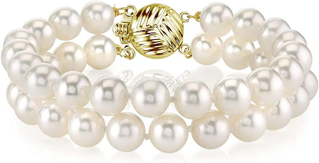 Image of THE PEARL SOURCE 14K Gold AAAA Quality Round White Freshwater Cultured Pearl Double Strand Bracelet for Women AAAA