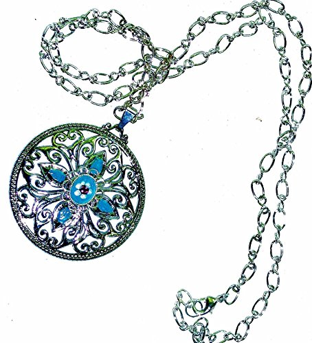 [Hand Painted One Of A Kind Silver Round Filigree Pendant Boho Necklace] (Creative One Of A Kind Costumes)