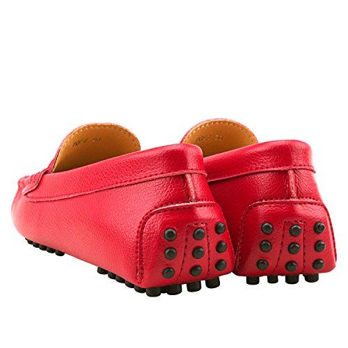 Comode D7052 Loafers Mocassini Rosso Shenduo Scarpe Di Liscia Casual Pelle Donna cnfYfxRH